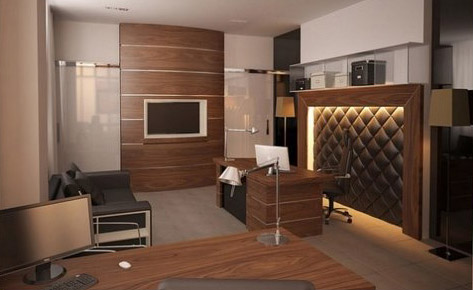 Интересное решение —в отделке стен и мебели использованы одинаковые шпонированные панели